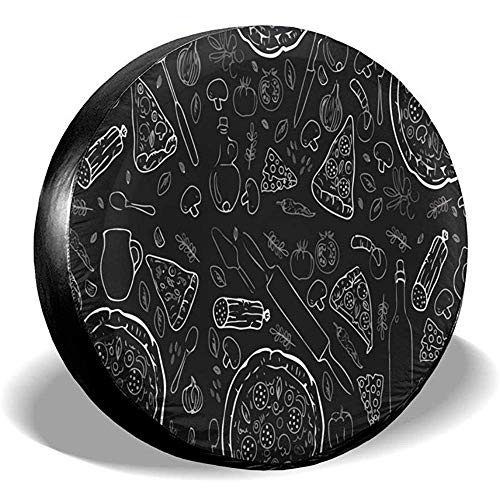 BK Creativity Tire Cover,Sketch Pizza Waterproof Universal Fit Reserveradabdeckung Adaptable Wheel Reifenschutz Für Rv SUV Wheel 70-75cm
