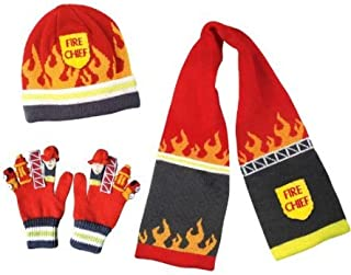 fireman sam hat and scarf set