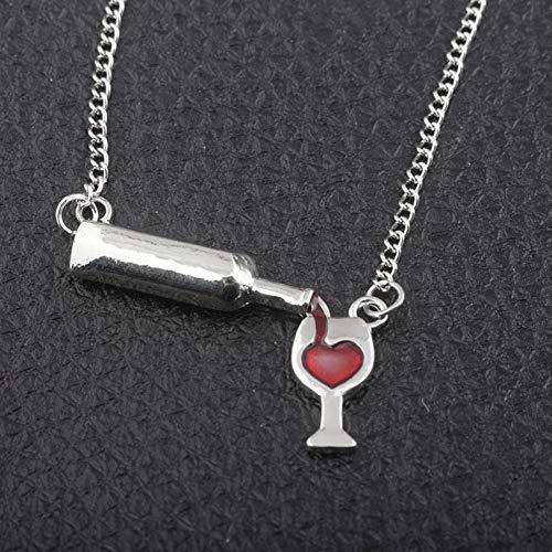XLHJK Kettinghanger voor liefhebbers rood hart wijnfles halsketting loopt voor wijnglas meisjes mannen vrouwen cadeau halskettingen