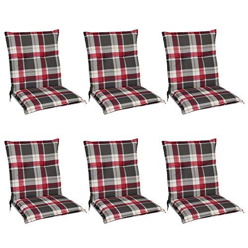 Beautissu 6er Set Sunny RK Niedriglehner Auflagen Set für Gartenstühle 100x50 cm Polster in Rot Kariert - Bequeme Gartenstuhl Stuhlkissen Polsterauflagen mit UV-Lichtecht