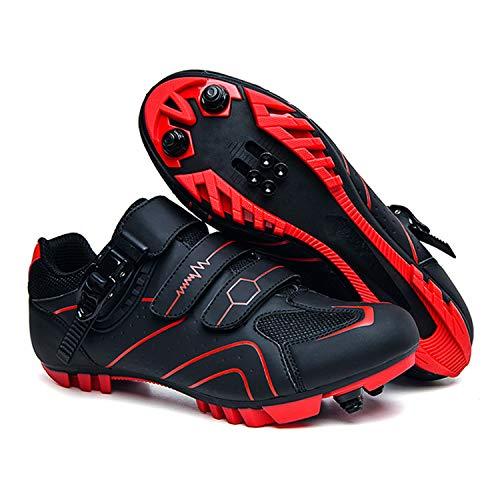 LFANH Fahrradschuhe für Herren, Spinning, entsperrt, für Rennrad, MTB, Fahrradzubehör, selbstsichernde Schuhe, rot, 45 EU
