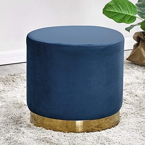 JXJ Reposapiés otomano redondo, pequeño taburete tapizado de terciopelo con base dorada, sala de estar, habitación de los niños, asiento adicional, azul marino, 40 x 38 cm