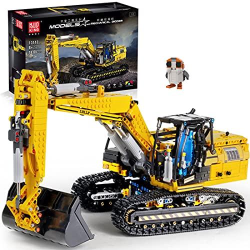 ReallyPow Technik Bagger mit Motor, Motorisierter Raupenbagger Ferngesteuert, Linkbelt Bagger Mould King 13112 Kompatibel mit Lego Technic -1830 Teilen