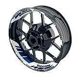 OneWheel Felgenaufkleber für Motorrad - Renngrib - passend für 17' Felgen/Vorder- und Hinterrad beidseitig | Zweiteiliger Aufkleber | Premium Felgenrandaufkleber - Design 4 - komplettes Set (blau)