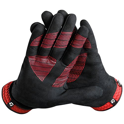 TaylorMade Rain Control Cadet Glove (Black/Red, Small), Black/Red(Medium, Pair)