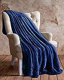 Utopia Bedding Vellón Manta (Azul Marino, 127 x 152 cm) - Tejido De Vellón De Microfibra - Manta De Sofá, Suave y Cálida