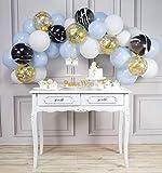 PartyWoo Globos Azules Blancos 40 Piezas 12 Pulgadas Globos Bebe Azul Blancos Globos de Mármol Blanco y Gobos de Confeti para Decoraciones de Baby Shower para Bebés, Bautizos, Cumpleaños para Niños