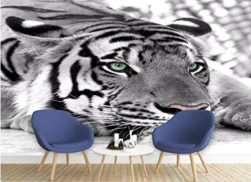 3D Foto Fotomurales - Tigre animal gris 300x210 cm - 6 strisce Papel pintado tejido no tejido Decoración de Pared decorativos Murales moderna de Diseno Fotográfico