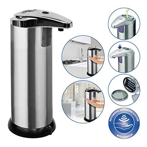 AXSOM ELECTRONICS Dispensador de Jabón Automático de Acero Inoxidable, Dispensador Automático Jabón Baño y Cocina, Dispensador de Jabón Eléctrico, Dispensador Jabón Líquido 210ml