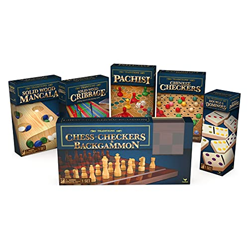 Classic Board Games 6-Pack Bundle, for Adults, Families, and Kids Ages 5 and up