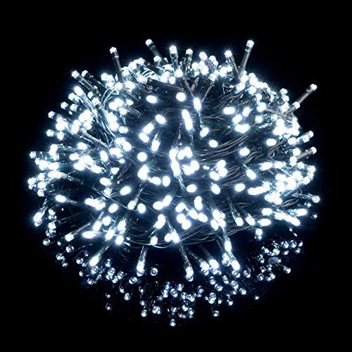 Nataland Catena Luminosa 100 Led - 10 Metri Interno Ed Esterno, Serie Certificata Con Controller 8 Funzioni, Per Illuminazione Casa, Negozio e Albero di Natale (Bianco Freddo, 100 Led - 10 Metri)
