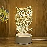 Mengjay Eule 3D Lampe, Eulen Geschenke, Eule Deko Licht, Eule Kinder Geschenk, 3D Eule Nachtlicht,für Geburtstagsgeschenk oder Wohnaccessoires 3D Eule Led Eule 7 Jährige Mädchen Geschenk.