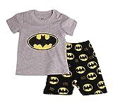 Gray Bat Boys Shorts 2 Piece Pajama Set 100% Cotton G6057,Gray,4T
