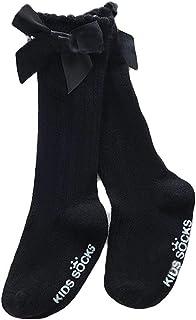 Vanornia, Calcetines para Niñas Bebé Calcetines Largos de Algodón Antideslizante Calcetines Cálidos Suaves Acanalados Elásticos de Color Sólido con Lazo
