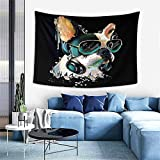 Artwork Tapestry,French Bulldog Watercolor Portrait A Headphones Dog Listening to Music GRAP,Wall Hanging Wall Decor Blanket for Bedrooms Living Room Dorm Home Decor - 60