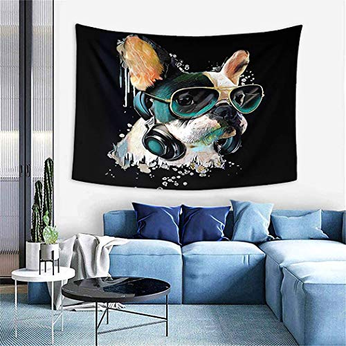 Artwork Tapestry,French Bulldog Watercolor Portrait A Headphones Dog Listening to Music GRAP,Wall Hanging Wall Decor Blanket for Bedrooms Living Room Dorm Home Decor - 60'X80'