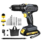 TOPELEK 20V Cordless Drill 2.0Ah Lithium-ion Battery Drill Driver, Drill Kit with 3