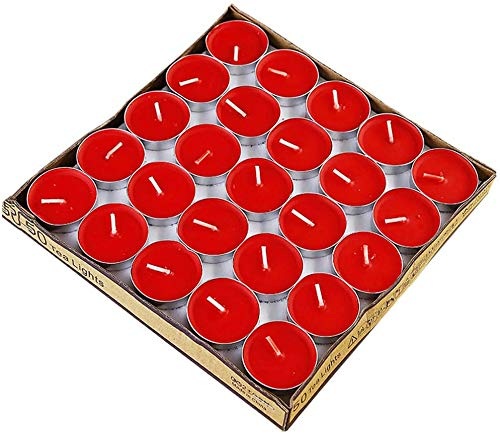 Beautifully 50 Pcs Votive Red Candle Unscented Tea Lights Candles in Bulk White Smokeless Dripless Long Lasting Candles Small Mini for Women, Valentine's Day, Mother's Day ( Color : Red )
