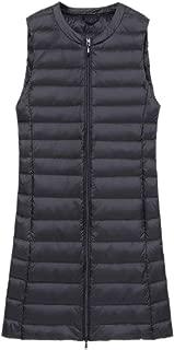 Women Lightweight Long Puffer Down Vest O-Neck Sleeveless Down Jacket