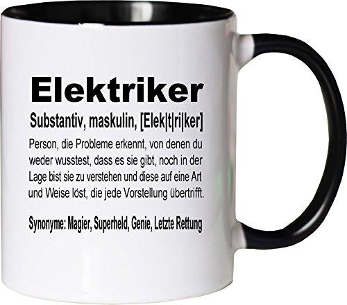 Mister Merchandise Kaffeebecher Tasse Elektriker Definition Geschenk Gag Job Beruf Arbeit Witzig Spruch Teetasse Becher Weiß-Schwarz