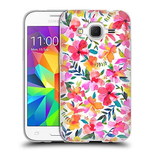 Head Case Designs Ufficiale Ninola Ibisco Floreale Cover in Morbido Gel Compatibile con Samsung Galaxy Core Prime