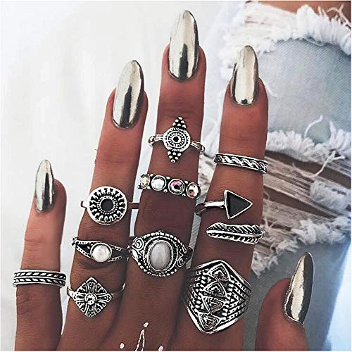 Cathercing 10 Pcs Silver Ring Sets for Women Knuckle Vintage Rings Pack for Women Girls Bohemian Rings Big Geometric Joint Knot Rings Set for Teens Party Daily Fesvital Jewelry Gift
