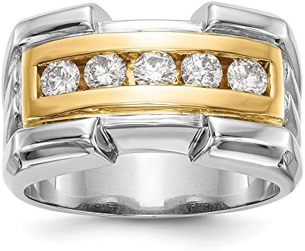 14k yellow and white gold Two tone True Origin Lab Grown Men s Diamond Wedding Band Ring VS product image