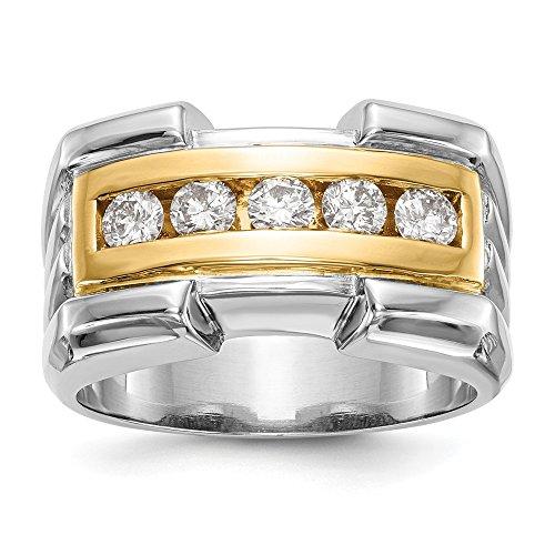14k yellow-and-white-gold Two-tone True Origin Lab-Grown Men's Diamond Wedding Band Ring, VS/E- 0.65ct for Women