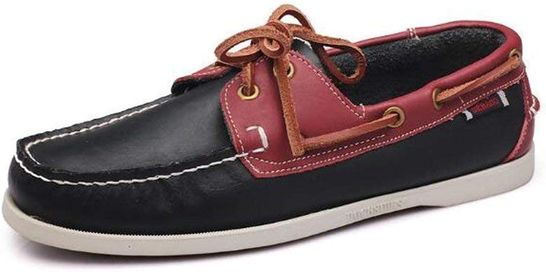 Eeayyygch Außenhandel Große Größe Segeln Schuhe männer männer männer Casual Herrenschuhe Lederschuhe Britischen Driving Single Schuhe Männer (Farbe   9042Blauplusrot, Größe   39)  bdf97a