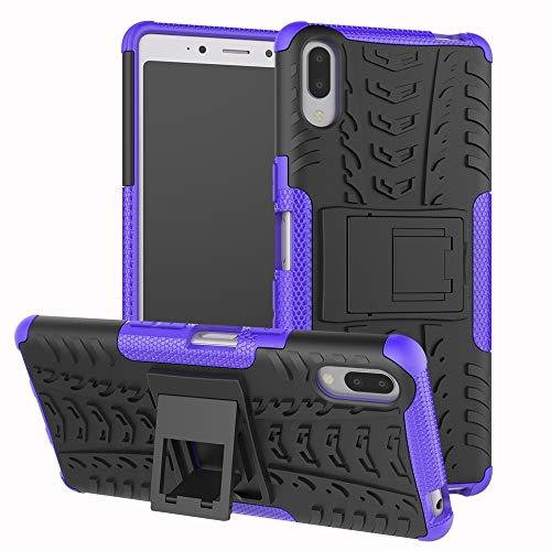 Ebogor para Para la Caja de Sony Xperia L3, la Textura del neumático TPU + PC Funda Protectora a Prueba de Golpes con el Titular (Negro) (Color : Purple)