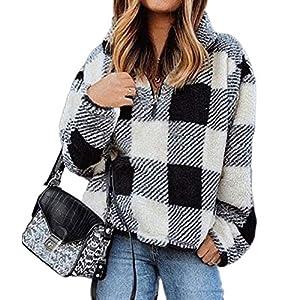 BTFBM Womens Sherpa Pullover Quarter Zip Long Sleeve Fluffy Soft Fleece Jackets Sweaters Sweatshirts Hoodies Outwear…