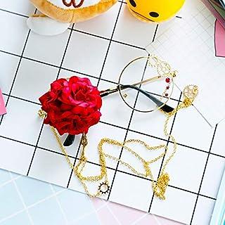 TYJYY Sunglasses Design Original Lunettes De Soleil Femmes Metal Gear Steampunk Grande Fleur Vintage Shades Neck Chaîne en...
