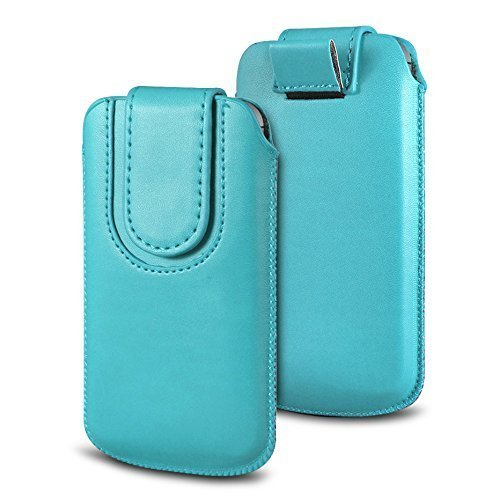 N4U Online Various Farbig Magnetisch PU Leder Zug Kippen Tab Schutzhüllen Tasche für Doogee F3 4G LTE - Babyblau