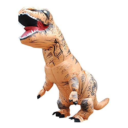 T-Rex Inflatable Costume Dinosaur Halloween Cosplay Blow up Fancy Outfit for Adult Children Birthday Theme Party Festivals - Brown
