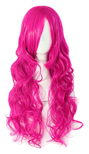 MapofBeauty 70cm Long Pink Wavy Cosplay Party Curly Wig...