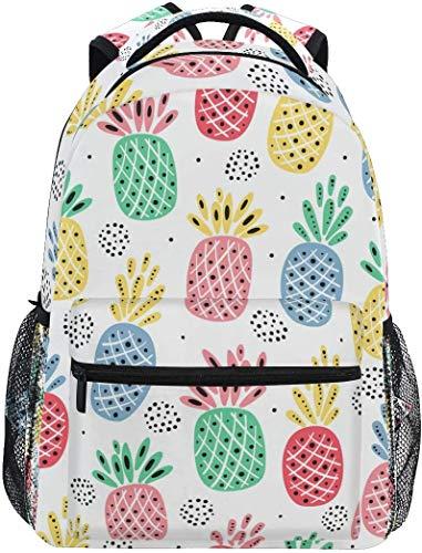 MODORSAN Mochila escolar informal colorida de piña tropical, mochila de viaje ligera, bolso de hombro universitario para mujeres, niñas y adolescentes