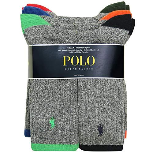 Polo Ralph Lauren Men's Classic Ribbed Crew Socks - 6 Pack (Assorted)