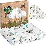 Superweiche Bambus Mullwindeln Spucktücher Baby Mulltücher Junge von Tabalino | 80x80cm | 4er-Pack | mit Gratis Schmusetuch | doppelt gewebt | Stoffwindeln Moltontücher | 30% Baumwolle (blau Teddy)