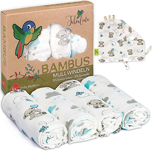 Tabalino Superweiche Bambus Mullwindeln Spucktücher | 80x80cm | 4er-Pack + gratis Schmusetuch |doppelt dicht gewebt| Stoffwindeln Baby Junge & Mädchen Mulltücher Moltontuch 30% Baumwolle (Teddy blau)