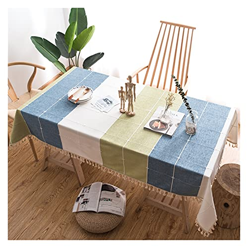 XINGTAO Manteles Cotton and Ropa de Cama Tassel Tassel Mantel Home Hotel Coffee Tea Tea Mesa de Mesa Minimalista Plaid Tablaid (Color : White Green Blue, Specification : 90 * 140cm)
