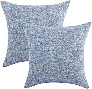 Throw Pillow Covers Decorative Cushion Case with Hidden Zipper for Home Faux Linen Square for Car Couch Cushion Covers (Light Blue, 18''X18'')