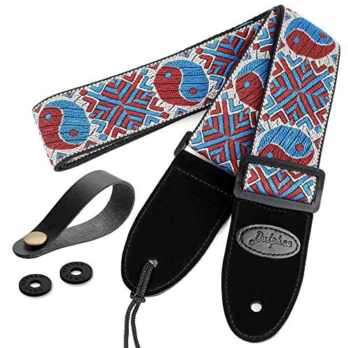 Dulphee Guitar Strap with 2 Strap Locks & 1 Strap Button, Unique Taiji Pattern Jacquard Weave Guitar Shoulder Strap for Bass, Acoustic and Electric Guitar (blue red)