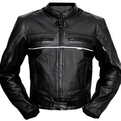 4LIMIT Sports 100800000109 Motorradjacke Leder Basic schwarz Motorrad Biker Lederjacke, 4XL