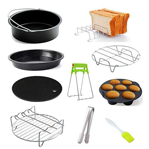 Haimen - Accesorio para freidora de aire caliente, cesta de horno de 6 pulgadas y 7 pulgadas, alfombrilla de silicona para pizza y freidora de aire