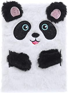 RICH-Po Fluffy Plush Panda Fox Kitten Cartoon Cute Plush Notebook, Can Be Used As A Notepad, Memo, Diary Notebook, Workbook (C)