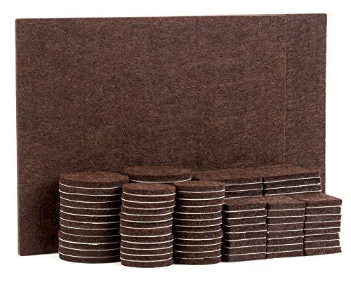 TYEERS Almohadillas de Fieltro Adhesivas para Muebles - Set de 98 Almohadillas para Protección del Suelo - Protectores de Fieltro Marrón