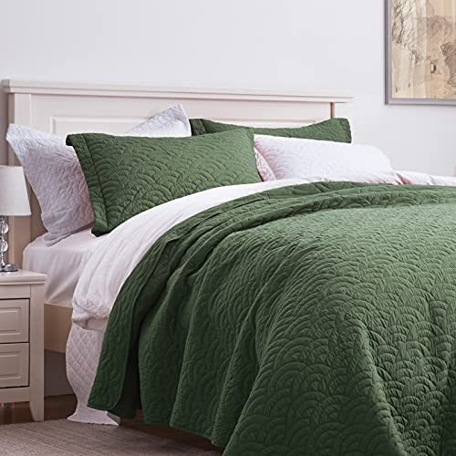 SunStyle Home Quilt Set Queen Green Lightweight Bedspread Coverlet Set Cloud Pattern Olive Green