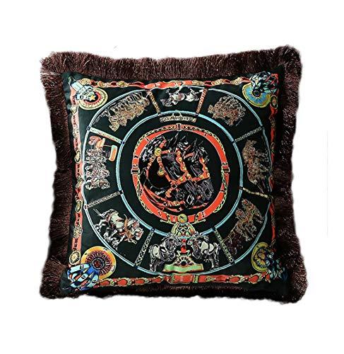SHJAN Fundas de almohada de felpa de doble cara, lujosas mantas de estilo aristocrático europeo, caballo, sillín, carruaje, caballero, caballero y cetro, 45,7 x 45,7 cm os12