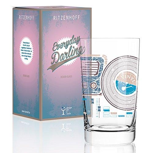 RITZENHOFF Everyday Darling Softdrinkglas von Kurz Kurz Design, aus Kristallglas, 300 ml, mit trendigen Dekoren