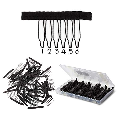 Wig Combs 60 Pcs Black Big Stainless Steel Wig Combs for Making Wigs Metal Wig Clips for Wig Caps Diy